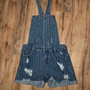 URBAN BLISS Distressed Pinstripe Overall Shorts